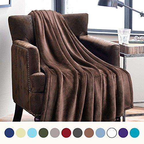 Bedsure Flannel Fleece Luxury Blanket Brown Twin Size Lightw