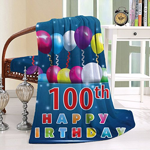 HAIXIA Blanket 100th Birthday Colorful Balloons on Star Like Dots 100 Years Birthday Blue and Dark Blue