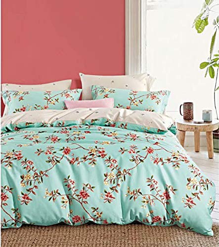 (Eikei Cottage Country Style 3 Piece Duvet Cover Set Multicolored Roses Peonies Bouquet 100-percent Cotton Shabby Chic Reversible Floral Bedding (Queen, Turquoise))