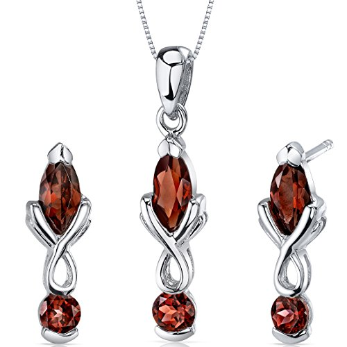 Garnet Pendant Earrings Necklace Set Sterling Silver Marquise Cut 3.00 Carats