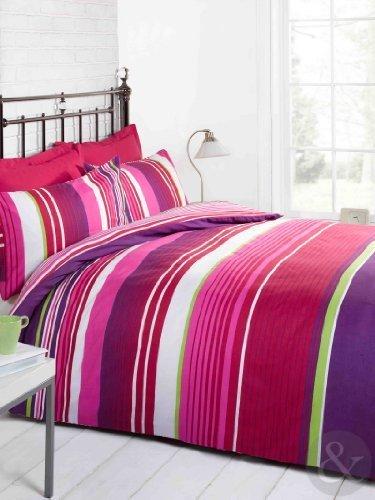 Mehrfarbig Gestreifte Bettwäsche Bettbezug, Baumwolle, Modernes Bettbezug Set Duschvorleger, Baumwollmischung, Pink ( purple green white cerise ), Kingsize Bettbezug