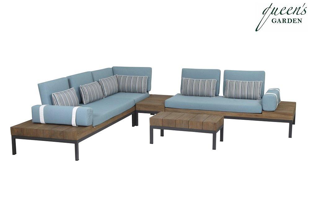 Queen´s Garden 367595 Combi Modul rechts Alu grau Teak antik-finish 100% Elastolefin blau