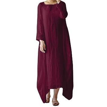 55b4eae48d Image Unavailable. Image not available for. Color  Koolee Women Plus Size  Women Cotton Linen Solid Loose Vintage Crew Neck Long Sleeve ...