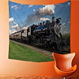 UHOO2018 Square Tapestry Historic Steam Train Passes Through The Fields Throw, Bed, Tapestry, or Yoga Blanket 47W x 47L Inch
