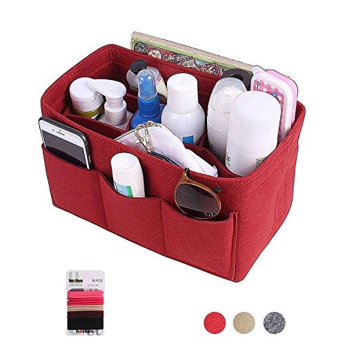 Felt Insert Bag Organizer Bag In Bag For Handbag Purse Organizer (Red, L)