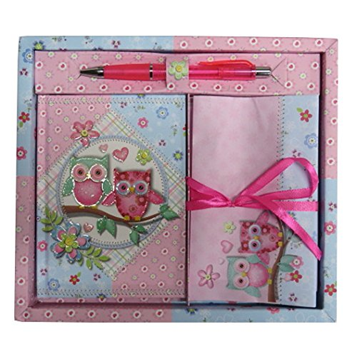 Girls Writing Stationery Set with Diary, Letters, Envelopes and Pen - Sparkle Owls Design