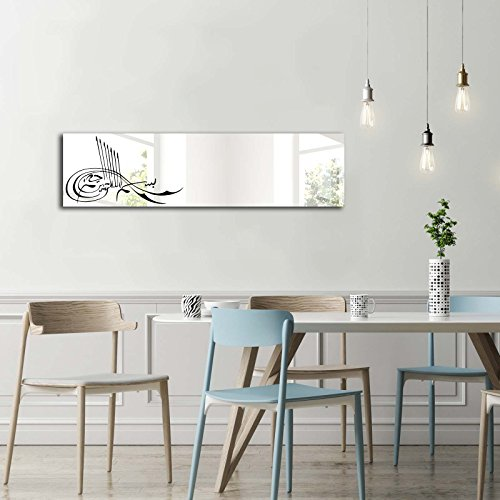 Decorative Mirror Wall Mounted 100% PINEWOOD Framed, Vinyl Stickers on Mirror (42.5