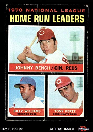 1971 Topps # 66 NL HR Leaders Johnny Bench/Tony Perez/Billy Williams Reds/Cubs (Baseball Card) Dean's Cards 2 - GOOD Reds/Cubs