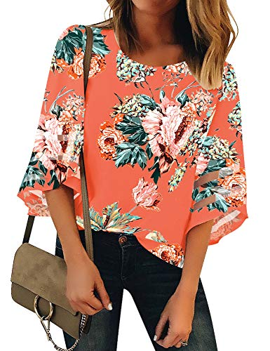 Luyeess Women's Casual Crew Neck Loose Mesh Panel Chiffon 3/4 Bell Sleeve Blouse Top Shirt Tee Orange Floral, Size S(US 4-6) (Tops Patterned)