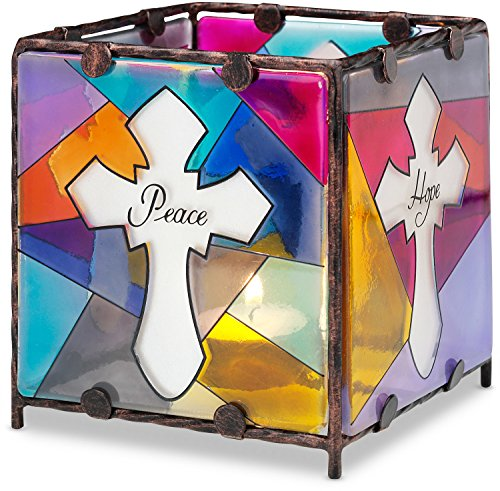Stained Glass Christmas Candles - Shine on Me by Pavilion Glass Candle Holder, Peace Hope Faith Love, 4 by 4-Inch