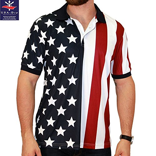 TheFlagShirt Men's Stars & Stripes Polo T-Shirt (X-Large, RWB)