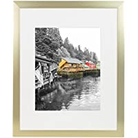 Golden State Art, Gold Color Satin Aluminum Landscape Or Portrait Picture Frame With Ivort Color Mat & Real Glass (16x20)