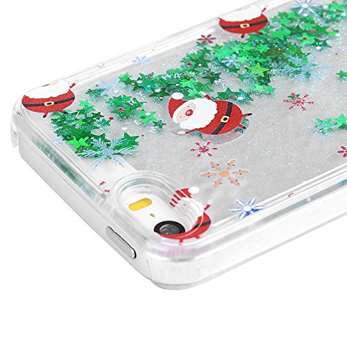 Mavis's Diary Coque iPhone 5/iPhone 5S/iPhone SE PC Rigide Etoile Père de Noël Dessin Housse de Protection Étui Téléphone Portable Phone Case Cover+Chiffon