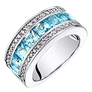 Sterling Silver Princess Cut Genuine, Created or Simulated Gemstone 3-Row Wedding Ring Band Sizes 5 to 9