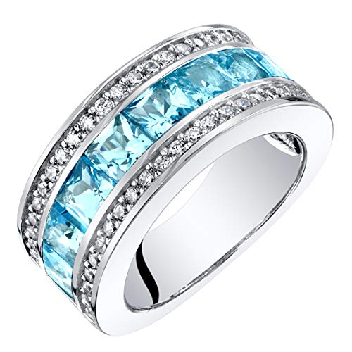 Sterling Silver Princess Cut Swiss Blue Topaz 3-Row Wedding Ring Band 2.25 Carats Size 7