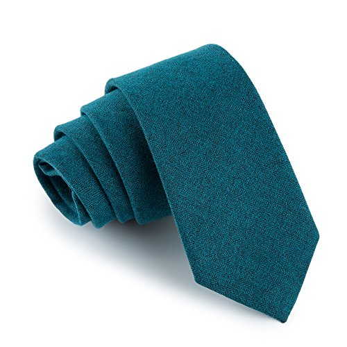 fan-tastik-mens-eco-friendly-handmade-cashmere-wool-slim-tie-24-6cm-solid-color-dark-teal-