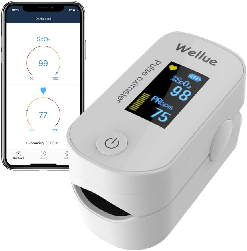 Wellue Pulse Oximeter Fingertip Blood Oxygen Saturation Monitor with Batteries & Lanyard for Wellness Use FS20F Bluetooth