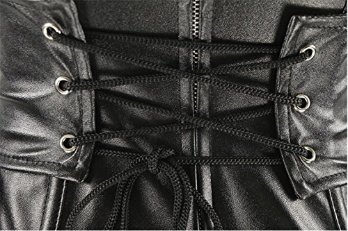 Czj-Innovation Bustier Mujer cuero de imitación Steampunk corsé negro