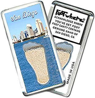 """product image for San Diego""""FootWhere"""" Fridge Magnet (SD201 - Skyline). Authentic Destination Souvenir acknowledging Where You've Set Foot. Genuine Soil of Featured Location encased Inside Foot Cavity. Made in USA."""