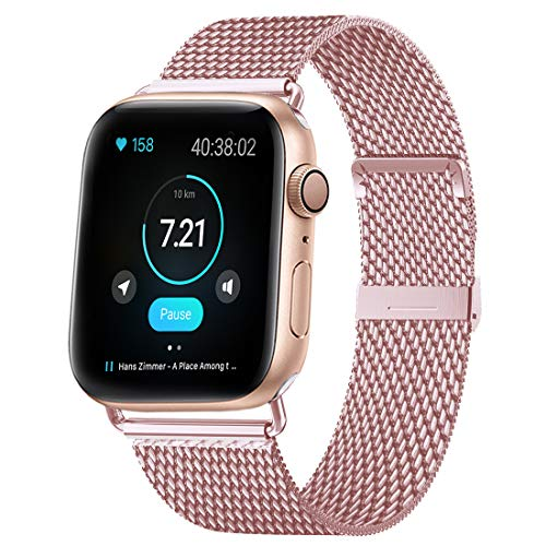 HILIMNY Compatible for Apple Watch Band 42mm 44mm, Stainless Steel Mesh Sport Wristband Loop with Adjustable Magnet Clasp for iWatch Series 1, 2, 3, 4, 5, Rose Gold (Rose Gold Strap Watch)