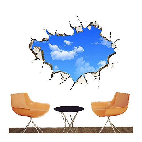 Creative Sports Themed Costumes (Simple 4pcs blue sky and clouds wall decal 3D ceiling wall mural sticker vinyl removable waterproof wallpaper mural for living room and sofa background family decoration sets)