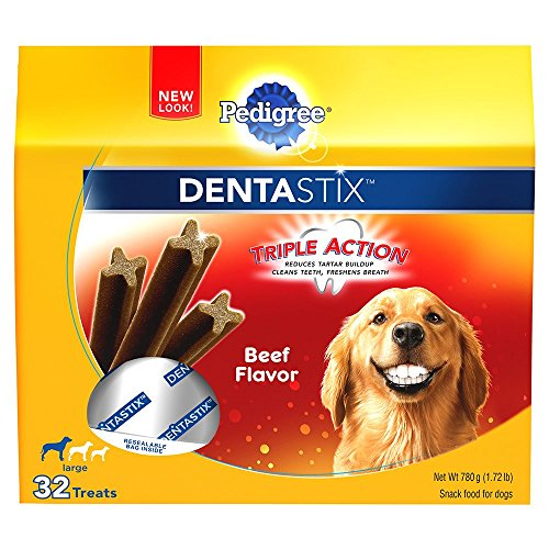 - Pedigree DENTASTIX Large Dental Dog Treats Beef Flavor, 1.72 lb. Pack (32 Treats)