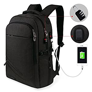 Tzowla Laptop Backpack, Anti-theft Slim College Backpack with USB Charging Port and Lock Business Travel Lightweight Bag for Women Men Students Fits 15.6 In Laptops (Black)