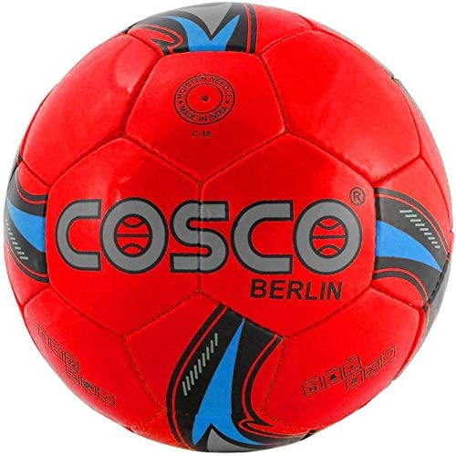 Cosco Berlin Football Size 5 Hand Stitched for Men Women Outdoor Play Red Color