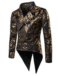 Tymhgt-CA Mens Stand Collar Satin Floral Pattern Vintage Suit Jacket Blazer Tuxedo