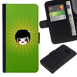 LECELL--Cuero de la tarjeta la carpeta del tirón Smartphone Slots Protección Holder For Sony Xperia Z3 Compact -- Triste Emoji --