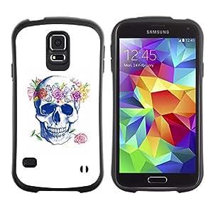 Paccase / Suave TPU GEL Caso Carcasa de Protección Funda para - Floral Wreath Spring Love Rose Skull - Samsung Galaxy S5 SM-G900