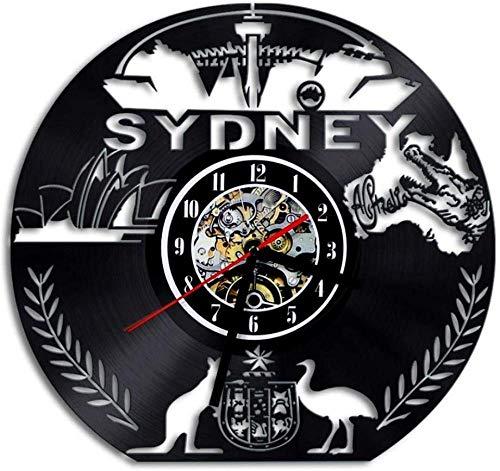 ZCGHGXGJ Vinyl Clock WallClock D Art Sydney SkylineTravel Gift 12 - Custom Made Mirrors Sydney Bathroom