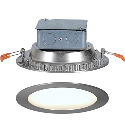 "Round Flush Mount Recessed LED Light | Thin Ceiling Cans Lighting Fixture | Downlight Discs in Drywall | Dimmable 4000K | 6"" Brushed Nickel"