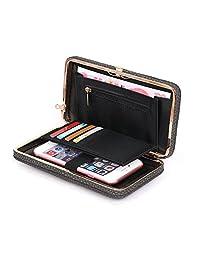 ffc5fcfa85b7 Aeeque Women Wallet Purse Clutch Ladies Handbag Wrist Strap PU Leather  Phone Bag