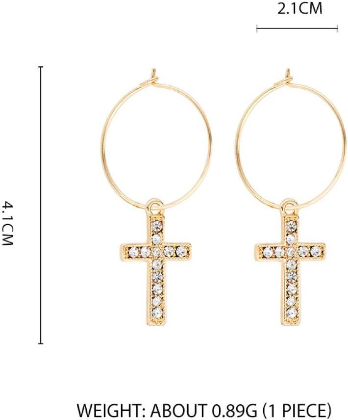 TGHYB Pendientes Mujer,Moda Vintage Diamantes De Imitación De Oro Cruz Cuelga Los Pendientes De Aro Finos del Banquete De Boda Encanto Joyas Regalos De Cumpleaños para Hombres Mujeres Niñas