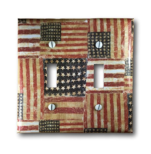 Rustic American Flag Double Toggle Light Switch Cover Wall Plate Americana Country Decor