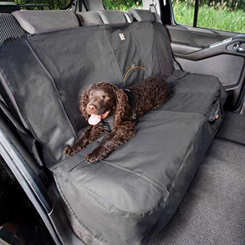 Kurgo Dog Seat Cover | Car Bench Seat Covers for Pets | Dog Back Seat Cover Protector | Water Resistant for Dogs | Contains Seat Anchors | Scratch Proof | Cars | Wander Bench Seat Cover Style | 53 Inches | Charcoal Grey / Gray