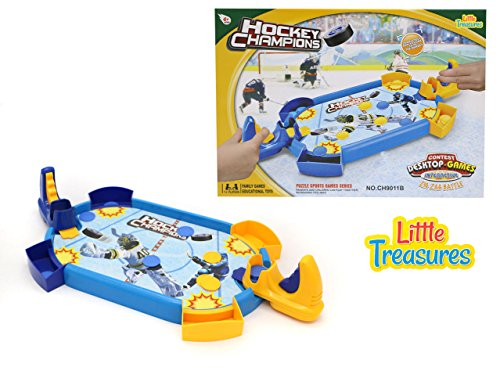 Table Top Hockey Game One-on-One Shooting Play Set from Little Treasures with Blue Side and Orange Side