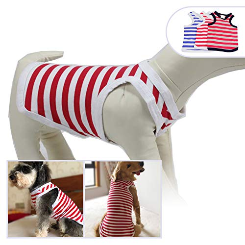 Tank Top Doggie T-shirt - Lovelonglong 2019 Pet Clothing Costumes, Puppy Dog Clothes Striped T-Shirt Tee Shirts for Large Medium Small Dogs, 100% Cotton Classic Puppies Doggy Vest White Red