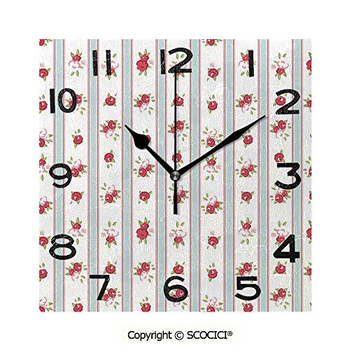 SCOCICI 8 inch Square Clock Vertical Borders Cute Rose Blossoms Cottage Country Home Unique Wall Clock-for Living Room, Bedroom or Kitchen -