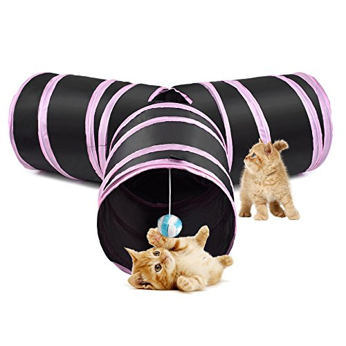 Nasus Cat Tunnel, 3 Way Crackle Paper Collapsible Tube Toy Catnip House with Fun Ball Puzzle Exercising and Playing for Kitty, Rabbits, Puppy and Small Dogs (Pink) ()