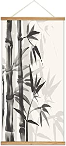 "NWT Hanging Poster NO Magnetic Wooden Framed, Ink Bamboo Painting Designs Home Wall Canvas Prints Decoration Ready to Hang - 18""x36"""