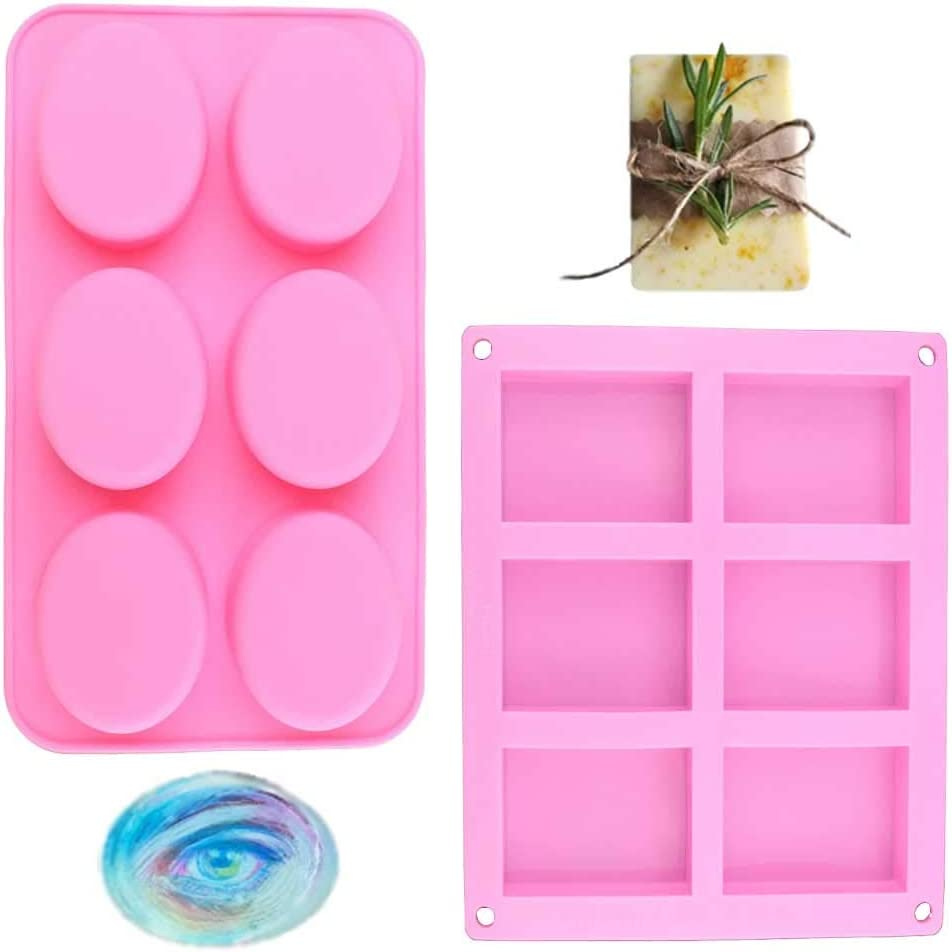 2-Pack Silicone Soap Molds Homemade Craft Soap Mold Silicone Molds for Cake Baking Tart Pudding Cookie Making, Rectangle and Oval Shape Mold