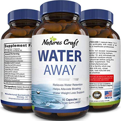 Water Away Supplement for Men and Women Natural Diuretic Pills Relieve Water Retention Fast Reduce Bloating Swelling for Weight Loss Pure Dandelion Green Tea 90 Capsules by Natures Craft