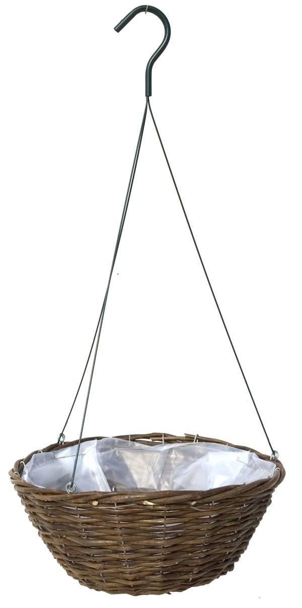12'' Willow Hanging Basket with Wire Hanger - 20 Baskets Growers Case