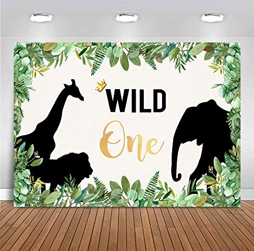 Fanghui 7x5ft Wild One 1st Birthday Party Photography Backdrop Animals Where The Wild Things are Themed Wallpaper Background Safari Baby Giraffe Lion Elephant Picture Banner Decor Photo Booth Studio -