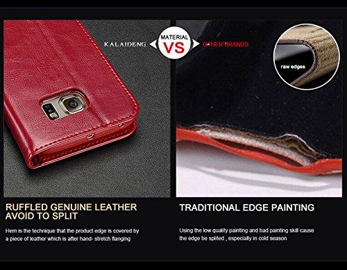 Kepuch Samsung Galaxy S7 Edge Carcasa Funda - Genuina Piel Smart Case Cover Cuero Funda Para Samsung Galaxy S7 Edge - Rojo Marrón