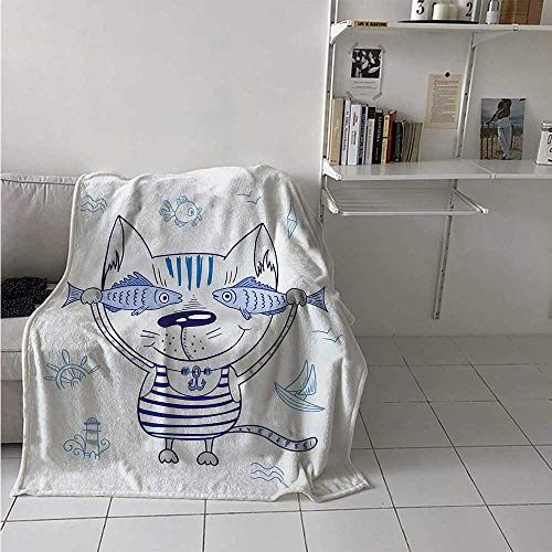 maisi Fish Digital Printing Blanket Naughty Cat with Fish in Striped T Shirt Anchor Pendant and Nautical Maritime Sign Summer Quilt Comforter 62x60 Inch Blue Grey