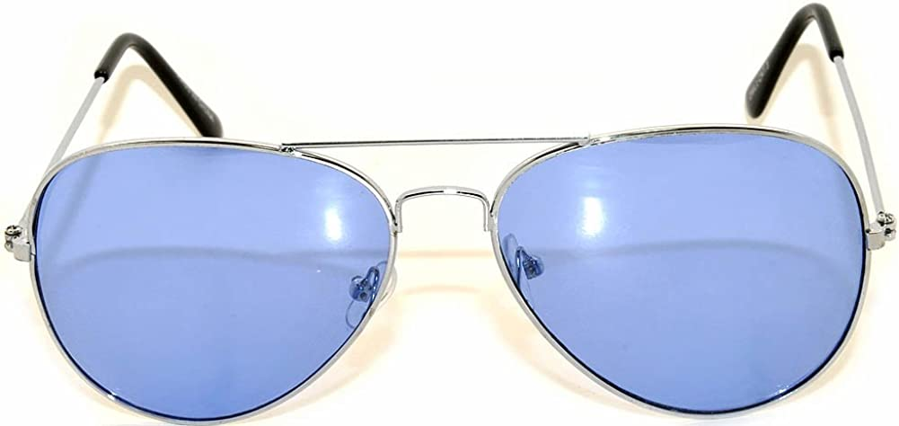 Classic Aviator Style Colored Lens Sunglasses Colored Metal Frame UV 400