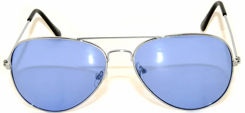 Classic Aviator Style Colored Lens Sunglasses Metal Frame UV 400 (l Blue, Gradient)